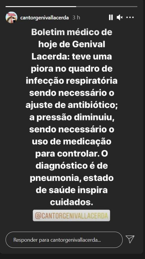 imagem 2020 12 10 204919 - Cantor paraibano Genival Lacerda apresenta piora e é diagnosticado com pneumonia