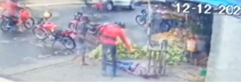 morte gari guarabira - Imagens mostram Gari sendo assassinado a tiros em feira livre no Brejo da Paraíba - VEJA VÍDEO