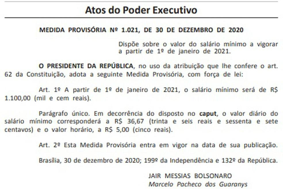 mp do salário mínimo - MP que define salário mínimo de R$ 1.100 em 2021 é publicada pelo Governo