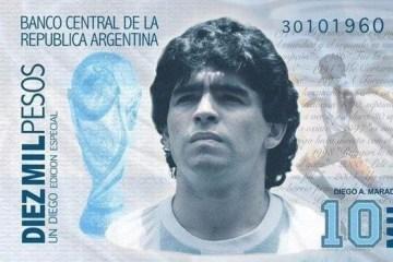 Campanha para criar nota de 10 mil pesos com rosto de Maradona é criada por agentinos