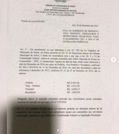 pl - MAIS UM AUMENTO NA PARAÍBA! Câmara de Jericó aprova acréscimo de salários para prefeito, vice, secretários e vereadores