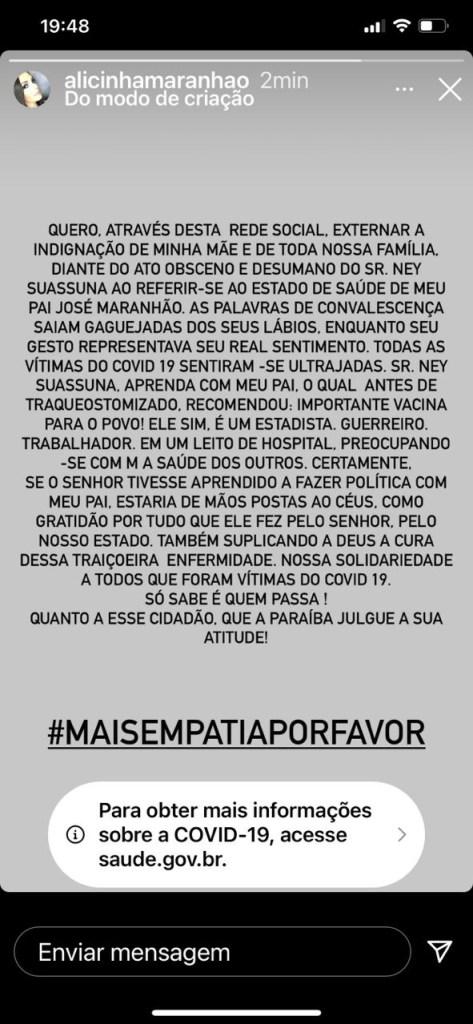 """861f1b5a d50e 431b b27c a526dd7fa478 473x1024 - """"ATO OBSCENO E DESUMANO"""": Filha de Zé Maranhão externa indignação de familiares após gesto de Ney Suassuna"""