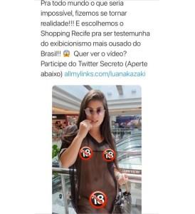 NUA 1 274x300 - Paraibana gera polêmica ao passear nua em shopping de Recife - VEJA FOTOS E VÍDEO