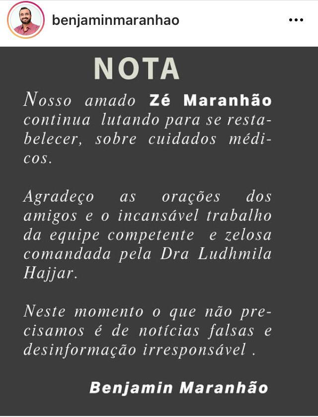 WhatsApp Image 2021 01 19 at 15.49.32 1 - 'Nosso Zé continua lutando': Benjamim Maranhão agradece orações de paraibanos e desmente fake news