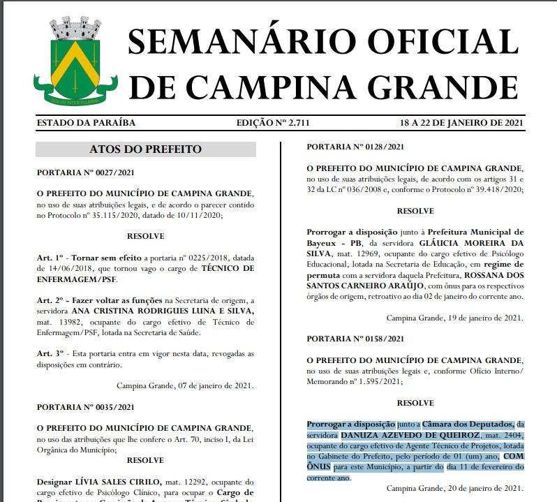 WhatsApp Image 2021 01 27 at 10.07.51 - INCOERÊNCIA: Pedro Cunha Lima critica gastos públicos, mas emprega secretária com salário pago pela Prefeitura de Campina Grande há 5 anos - ENTENDA
