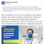 capturar 40 - Twitter marca publicação do Ministério da Saúde como 'informação enganosa'