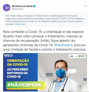 capturar 40 289x300 - Twitter marca publicação do Ministério da Saúde como 'informação enganosa'
