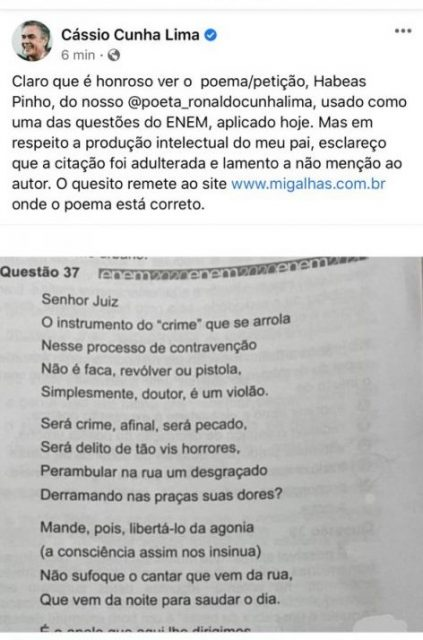 """cassiopinho 423x640 1 - Cássio Cunha Lima lamenta que """"Habeas Pinho"""", de seu pai tenha sido adulterado e usado sem autoria em questão do ENEM"""