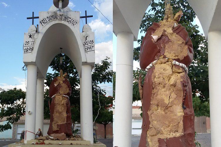 depredacao frei damiao - VANDALISMO: Estátua de Frei Damião é depredada em cidade da Região de Patos