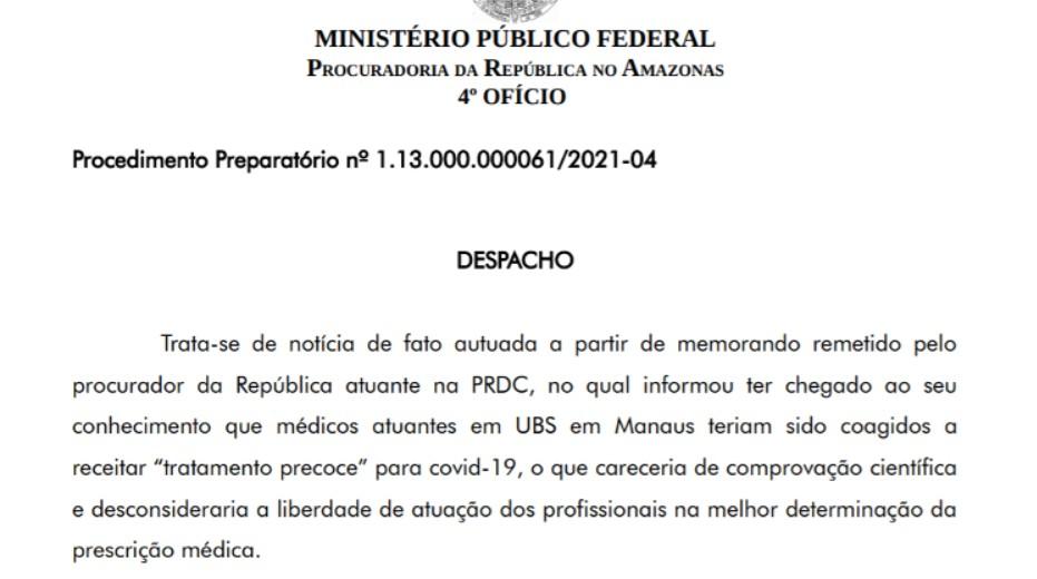 imagem 2021 01 15 184635 - MPF investigará prioridade do governo à cloroquina e não ao oxigênio em Manaus