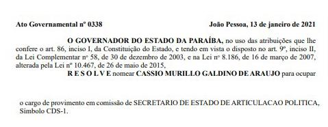 nomeiamgaldino - Murilo Galdino é nomeado como Secretário de Articulação Política no lugar de Jutay Menezes