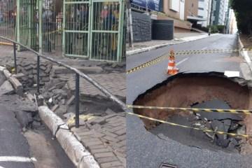 FORTES CHUVAS EM JP: asfalto cede em dois pontos capital neste sábado