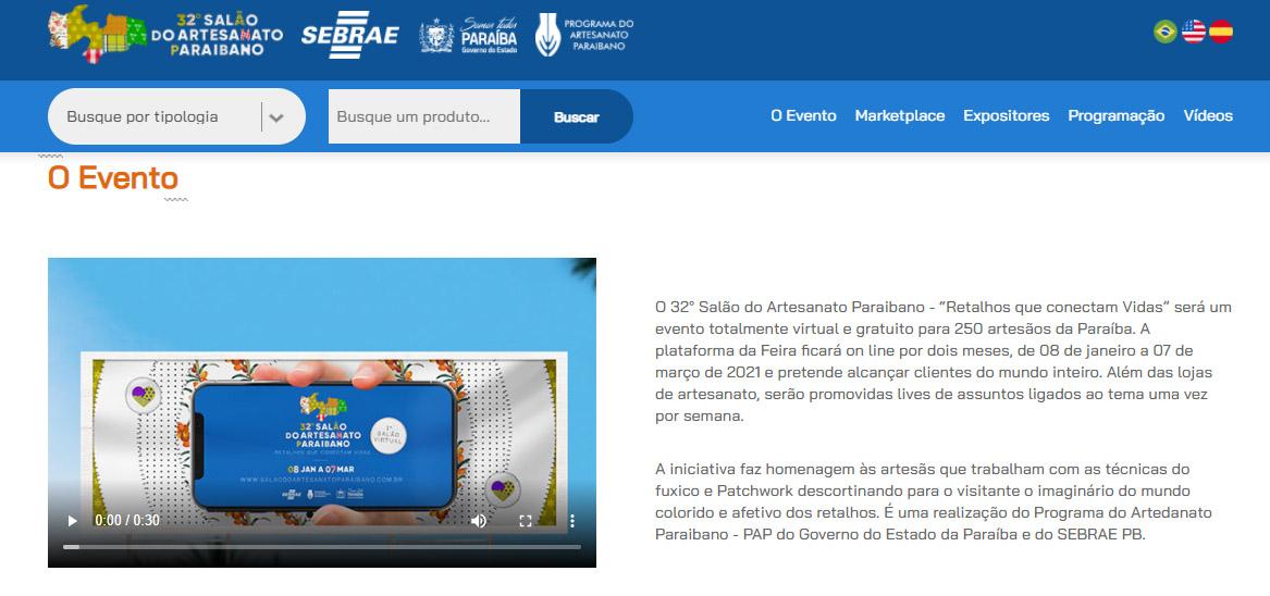 Salão do Artesanato 2021 - Salão do Artesanato Paraibano encerra primeiro mês de atividades com mais de 220 mil páginas acessadas