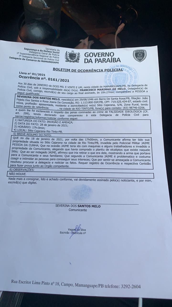 """WhatsApp Image 2021 02 01 at 13.37.27 - GRANDE CONFUSÃO! Após tentativa de """"grilagem de terras"""" em Rio TInto, moradores apelam por ajuda do Governo e do Tribunal de Justiça"""