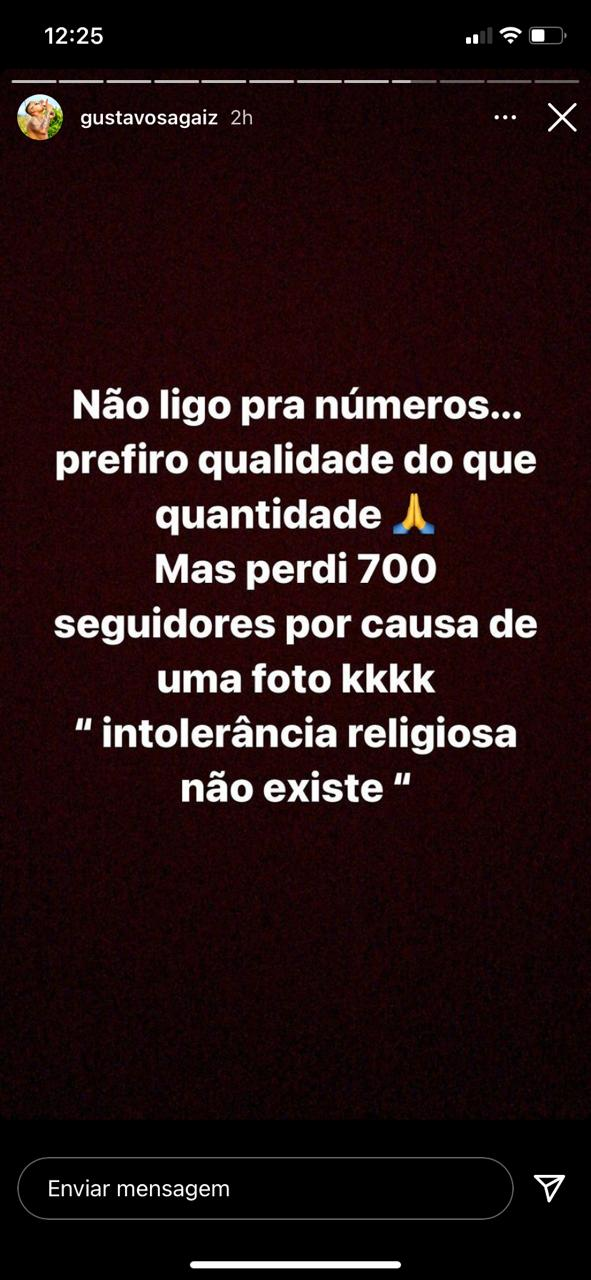 WhatsApp Image 2021 02 07 at 12.27.37 1 - 'INTOLERÂNCIA RELIGIOSA'?! Cantor de João Pessoa se assume umbandista e perde centenas de seguidores no Instagram