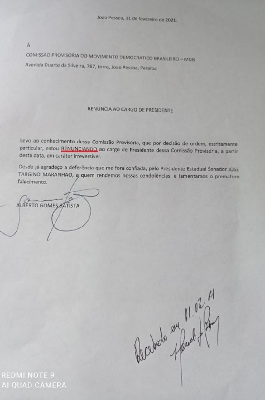 WhatsApp Image 2021 02 11 at 15.59.20 - Dirigente do MDB renuncia à presidência da Comissão Provisória em JP e defende que filhos de José Maranhão assumam comando da legenda no estado