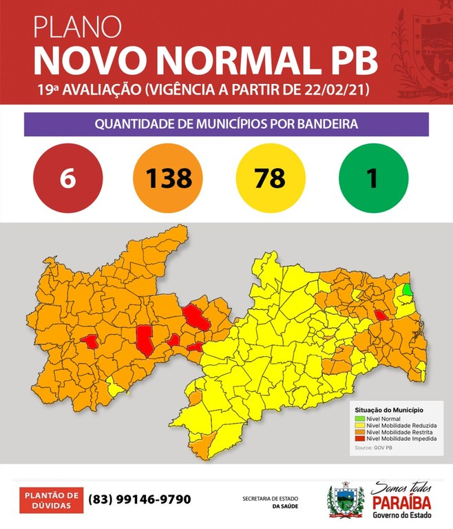 ff3422e9 e152 4463 84bf 3d9067a88f8b - PLANO NOVO NORMAL: Paraíba tem 62% dos municípios em bandeira laranja - VEJA VÍDEO