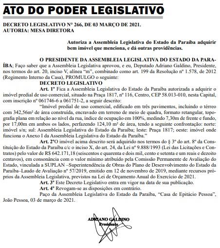 compra assembleia - Assembleia Legislativa da Paraíba vai comprar imóvel de mais de R$ 640 mil para ampliação da sede
