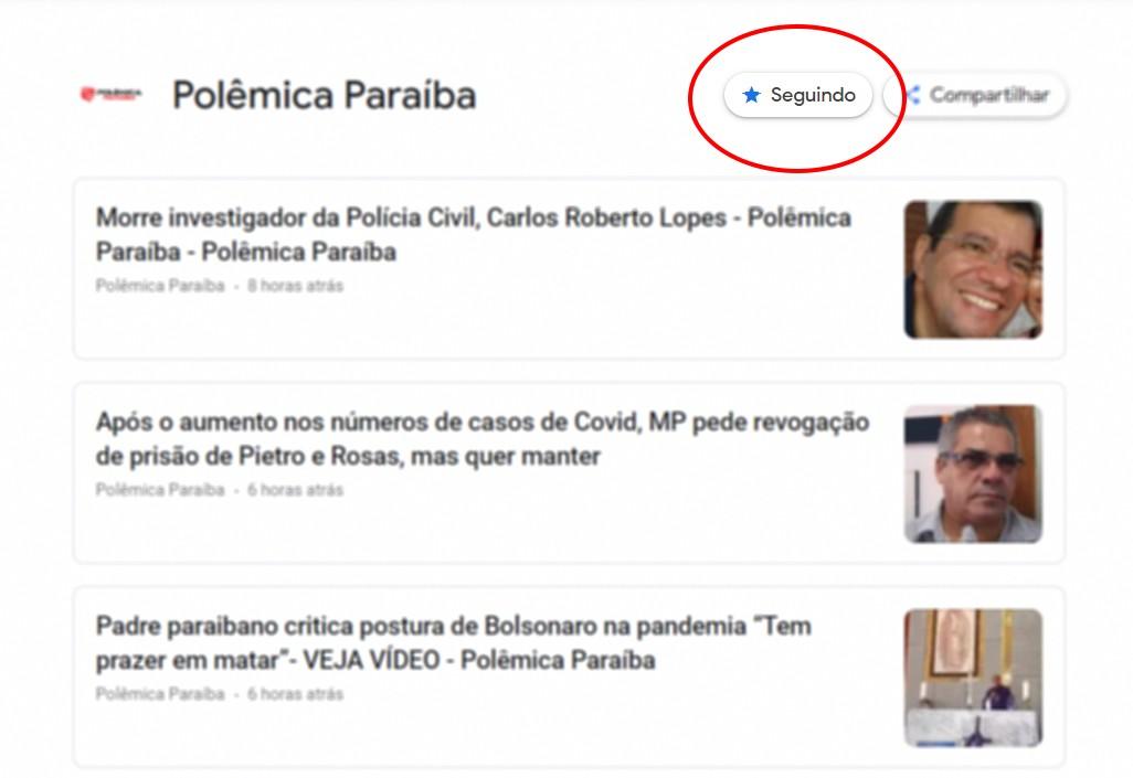 exemplo segui google news polemica paraiba desktop - Saiba como acessar o conteúdo do Polêmica Paraíba pelo Google News