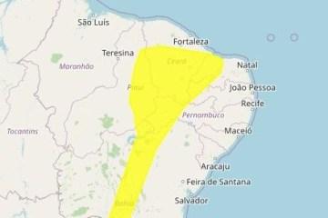 map 1 - Mais de 50 cidades tem alerta de chuvas intensas no Sertão da Paraíba