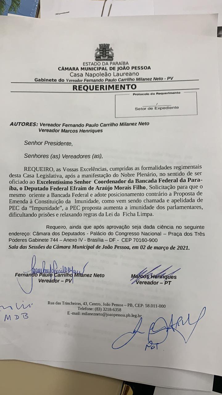 requerimento cmjp - Vereadores de João Pessoa aprovam pedido à bancada federal para votar contra PEC da Imunidade