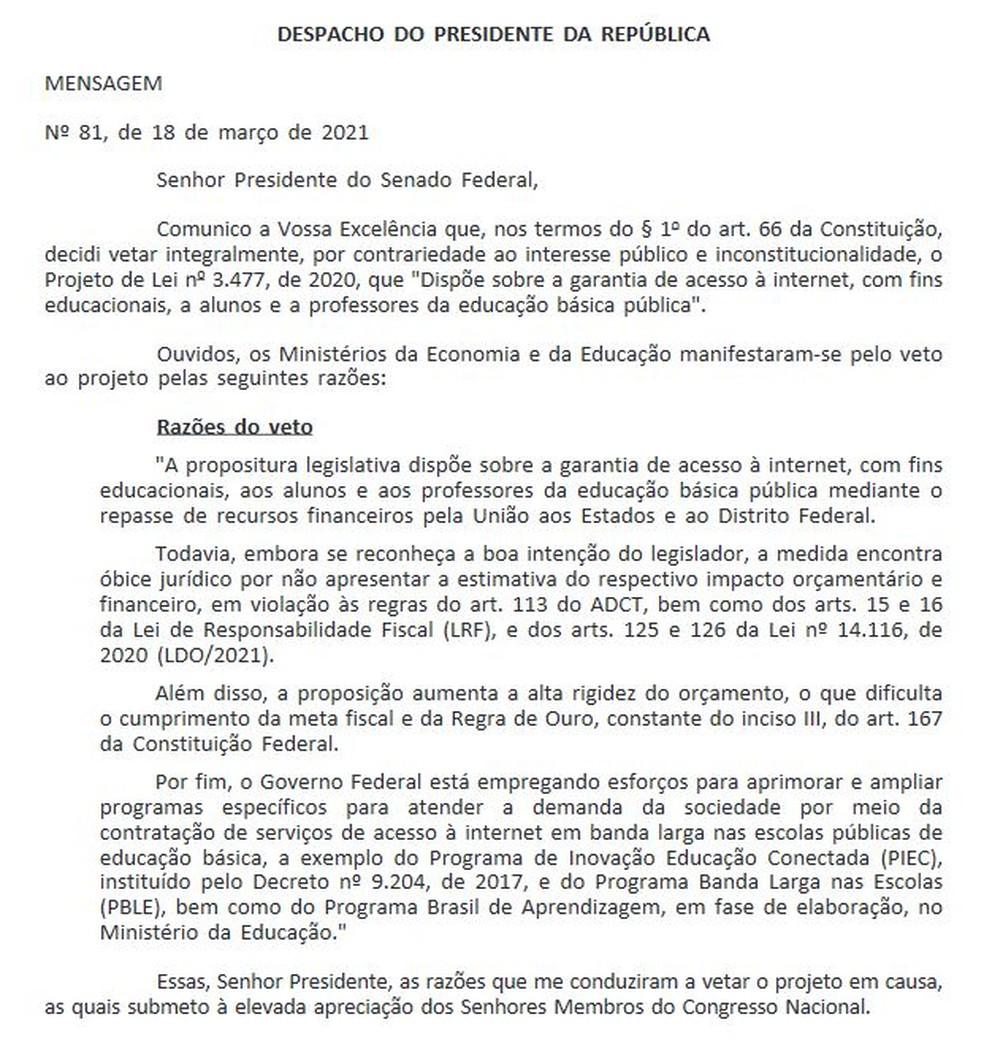 veto bolsonaro - Bolsonaro veta integralmente projeto que assegura internet a alunos e professores da rede pública