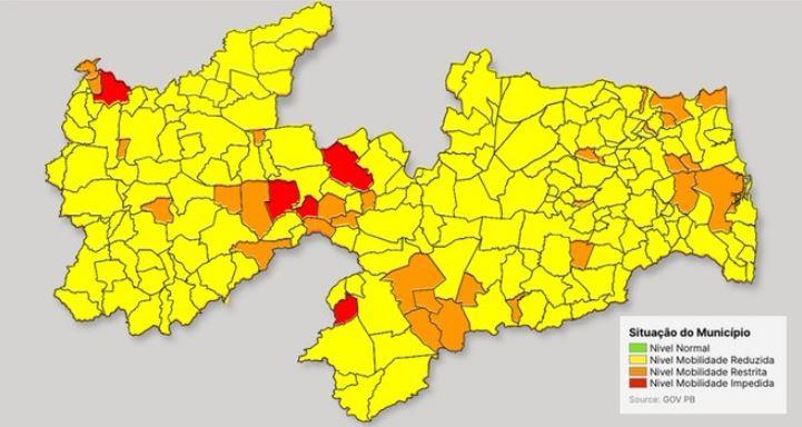 339 - PLANO NOVO NORMAL: Bandeiras amarelas voltam a predominar em 84% dos municípios paraibanos