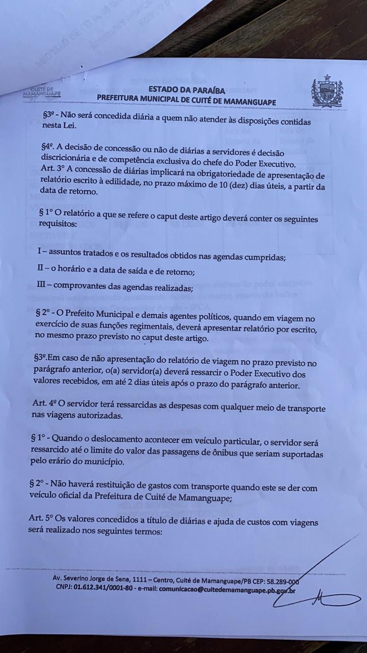 747448dc c161 4342 9f60 992ed8c274a9 - EM PLENA PANDEMIA: Câmara Municipal de Cuité de Mamanguape aprova aumento de até R $1.400 para diárias de hospedagens do prefeito; veja o documento
