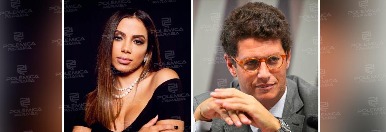 ANITTA E RICARDO SALLES - Anitta a Salles: 'Em vez de trabalhar, fica de gracinha no Twitter. Desgoverno'
