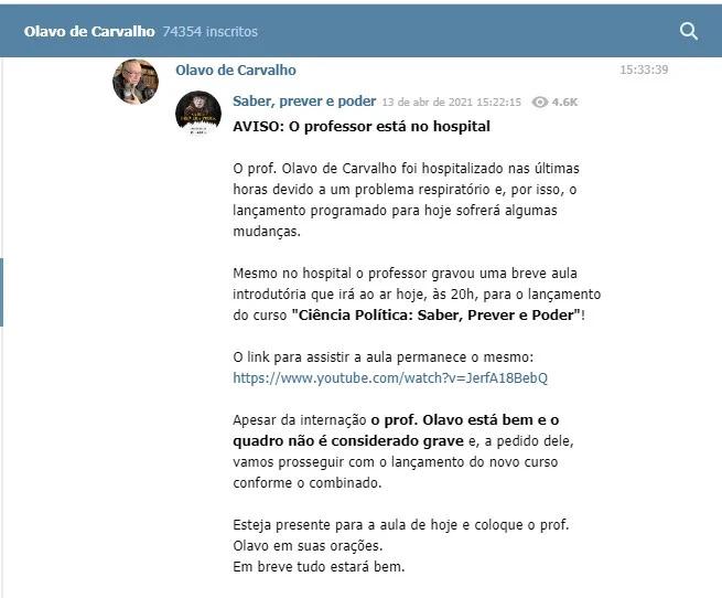 Tacio 1 - Olavo de Carvalho é internado após apresentar problemas respiratórios