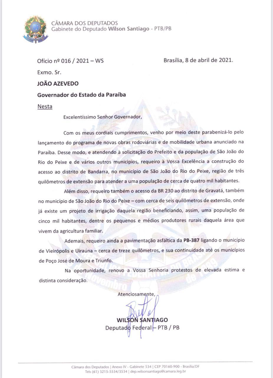 WhatsApp Image 2021 04 14 at 08.42.41 - Wilson Santiago pede inclusão de pavimentação de novas estradas do Sertão em plano de obras do Governo