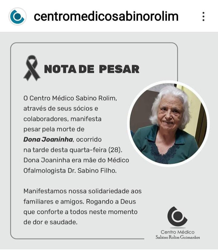 WhatsApp Image 2021 04 28 at 19.07.39 - Luto em Cajazeiras: morre Dona Joaninha Rolim, viúva do Dr. Sabino Rolim