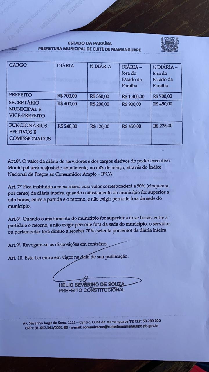 a4112aa4 6175 4930 bd71 ab67d5257efb - EM PLENA PANDEMIA: Câmara Municipal de Cuité de Mamanguape aprova aumento de até R $1.400 para diárias de hospedagens do prefeito; veja o documento