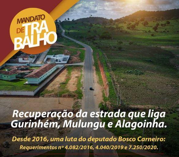 bc - LUTA ANTIGA: Bosco Carneiro consegue recuperação da estrada que liga Gurinhém, Mulungu e Alagoinha