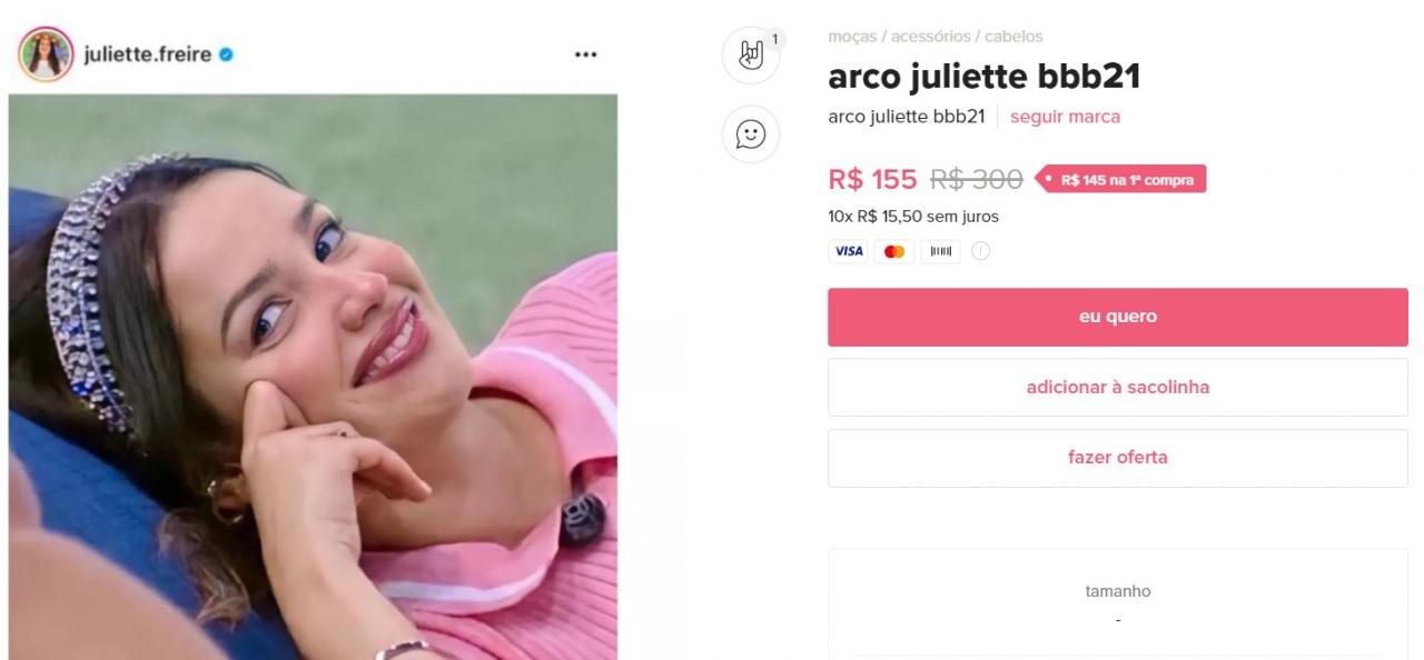 imagem 2021 04 16 202734 - TUDO QUE ELA USA FAZ SUCESSO: marcas e lojas online usam nome de Juliette para promover seus produtos; confira