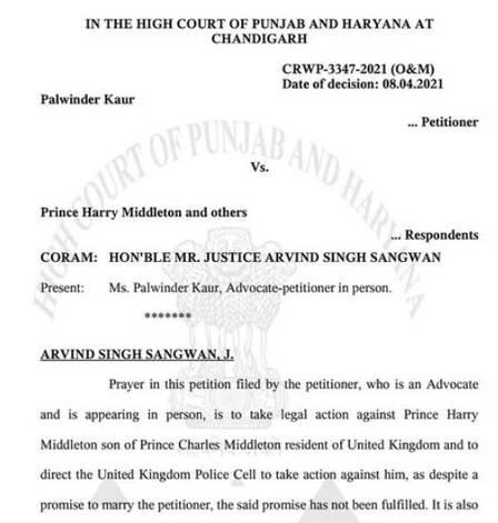 xblog india.jpg.pagespeed.ic .jVdqChBTgx - Indiana diz ter recebido 'pedido de casamento' do príncipe Harry e vai à Justiça exigindo a sua prisão