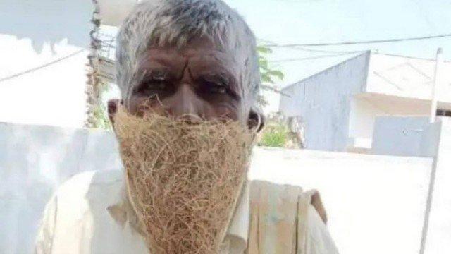 xblog mask india.jpg.pagespeed.ic . IqN2So9H0 - Aposentado viraliza usando máscara feita de ninho de pássaro ao buscar a pensão