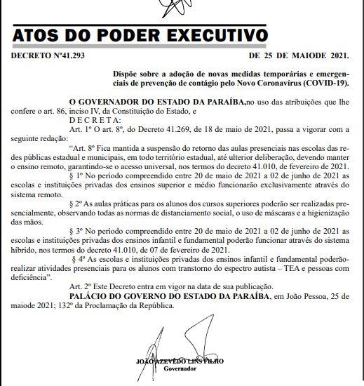 Capturar.JPGww  - Governo da Paraíba libera aulas presenciais para alunos do ensino superior - VEJA O DOCUMENTO