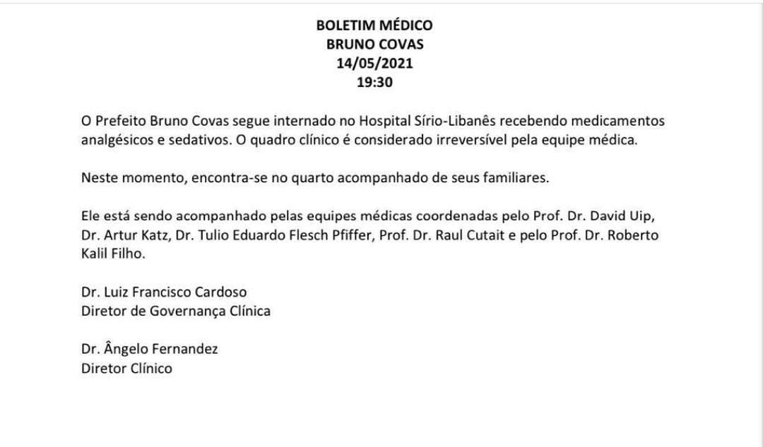 E1YiAF XoAMUzop - 'IRREVERSÍVEL': quadro clínico de Bruno Covas não tem mais solução, dizem médicos