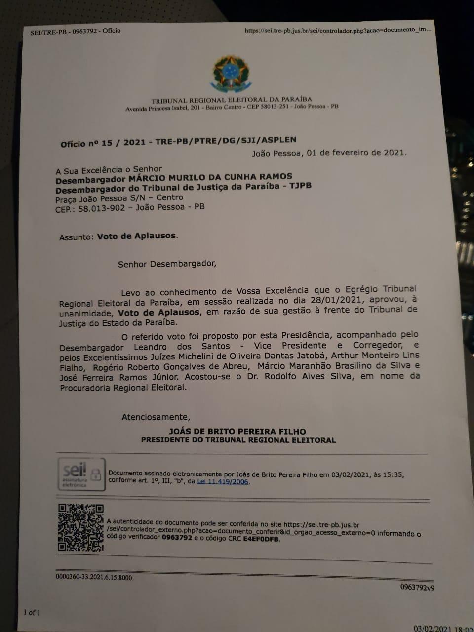 WhatsApp Image 2021 05 04 at 09.45.55 - TRE-PB aprova 'Votos de Aplausos' ao ex-presidente do TJPB, desembargador Márcio Murilo - VEJA DOCUMENTO