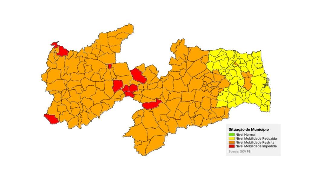 bandeiras pb - ALERTA LIGADO: Com CG, Paraíba classifica 153 municípios em bandeira laranja; levantamento anterior apontava apenas 14 - VEJA DETALHES