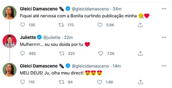 captura de tela 2021 05 27 as 20.10.18 - Juliette e Gleici trocam elogios nas redes sociais: 'Mulher, eu sou doida por tu'
