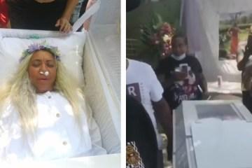 Mulher aluga caixão, ensaia funeral no quintal e ouve choro de amigos
