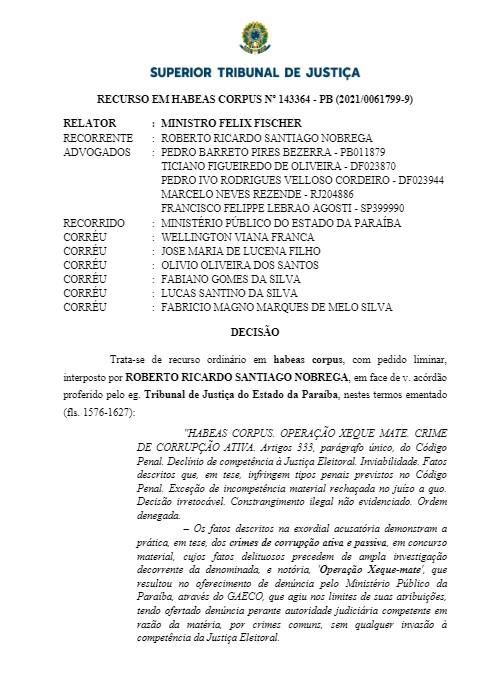 transferir - DERROTA NO STJ: Roberto Santiago vai ser julgado por ter comprado o mandato para Leto Viana e não por crime eleitoral