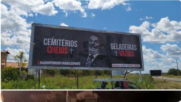 Capturar 92 - À espera de Bolsonaro, DNIT manda derrubar outdoor com críticas ao governo em cidade do RN - VEJA VÍDEO