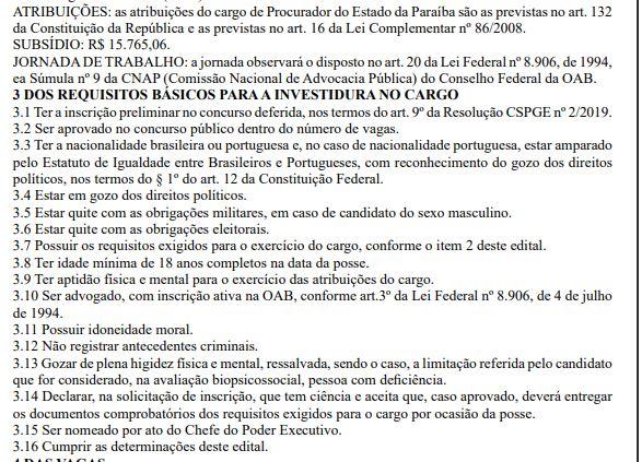 Capturar.JPGmj  - PARAÍBA: Governo divulga concurso público com 12 vagas para procurador; salário de R$ 15 mil