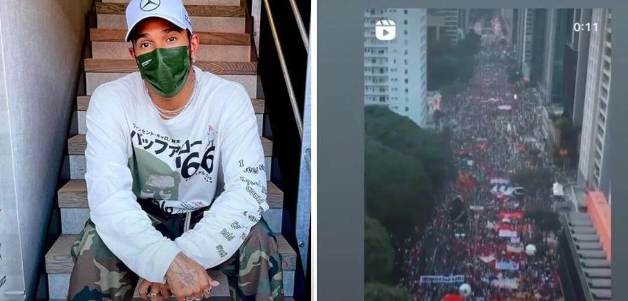Lewis hamilton - MOSTROU APOIO: Lewis Hamilton posta vídeo a favor de manifestantes contra Bolsonaro