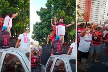 """IRRESPONSABILIDADE! Presidente do Campinense, Phelipe Cordeiro participa de carreata na vitória do time gerando aglomeração e diz: """"Estou vacinado"""" – VEJA VÍDEO"""