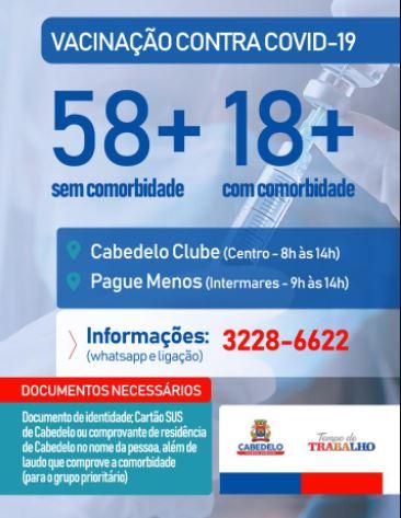 cACA - Cabedelo começa a imunizar pessoas acima de 58 anos sem comorbidades
