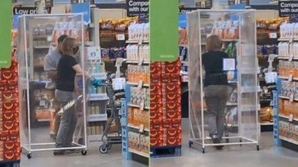 mulher gaiola - Mulher vai ao mercado dentro de 'gaiola' de plástico para se proteger do coronavírus- VEJA VÍDEO